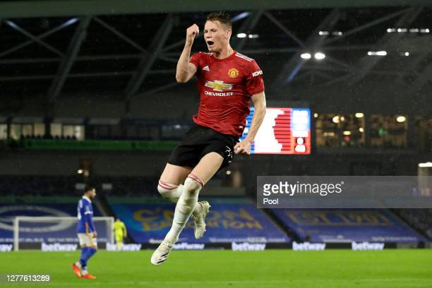 Scott McTominay of Manchester United celebrates after scoring his sides first goal during the Carabao Cup fourth round match between Brighton and...
