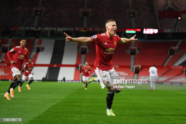 Scott McTominay of Manchester United celebrates after scoring their sides second goal during the Premier League match between Manchester United and...