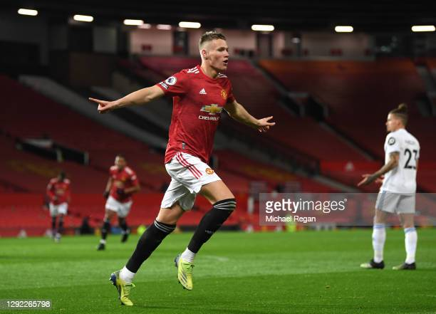 Scott McTominay of Manchester United celebrates after scoring their team's second goal during the Premier League match between Manchester United and...
