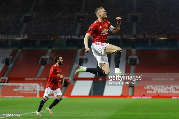 Scott McTominay of Manchester United celebrates after scoring their team's first goal during the FA Cup Third Round match between Manchester United...