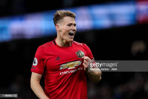 Scott McTominay of Manchester United celebrates at full time during the Premier League match between Manchester City and Manchester United at Etihad...