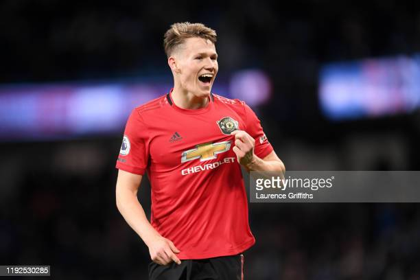 Scott McTominay of Manchester United celebrates following his sides victory in the Premier League match between Manchester City and Manchester United...