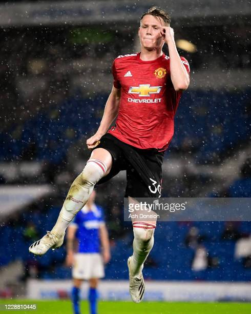 Scott McTominay of Manchester United celebrates scoring a goal to make the score 0-1 during the Carabao Cup fourth round match between Brighton and...