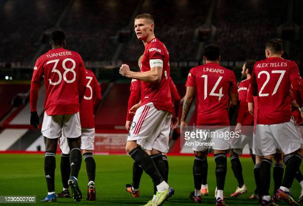 Scott McTominay of Manchester United celebrates scoring a goal to make the score 1-0 during the FA Cup Third Round match between Manchester United...