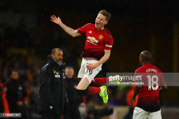 Scott McTominay of Manchester United celebrates scoring the opening goal during the Premier League match between Wolverhampton Wanderers and...