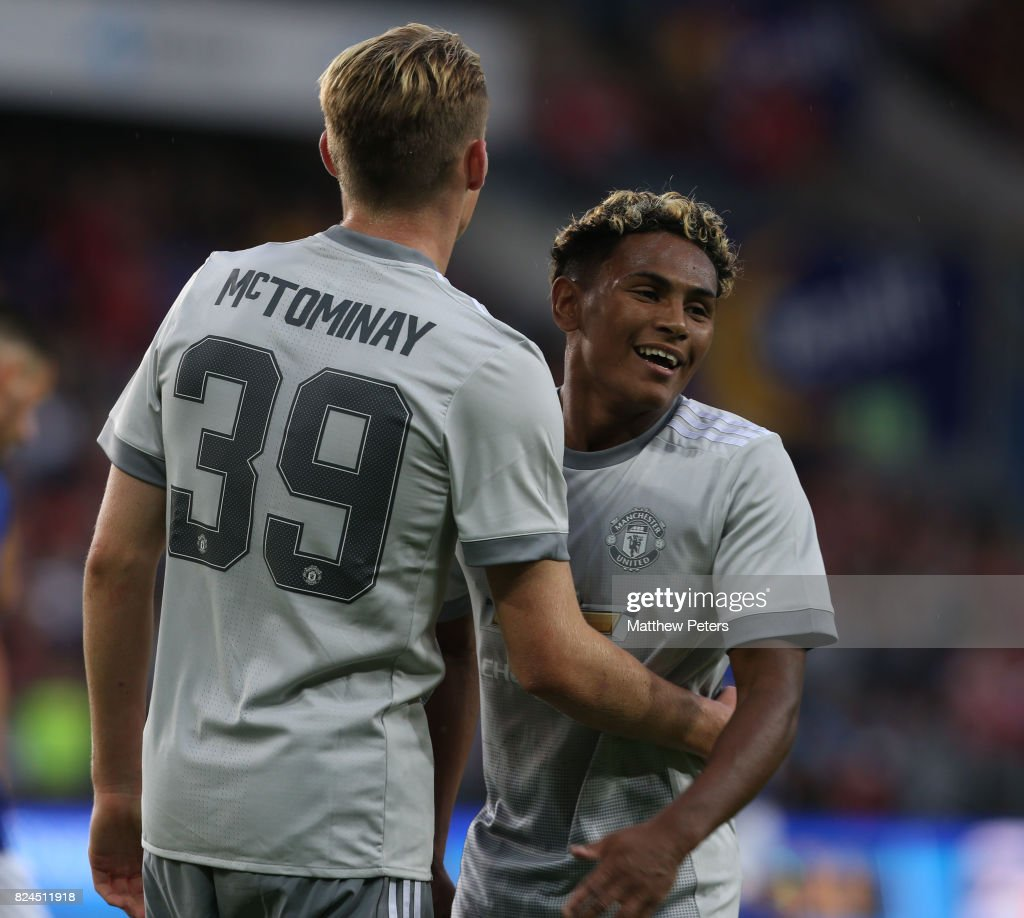 Scott McTominay of Manchester United celebrates scoring the third goal during the pre-season friendly match between Valerenga and Manchester United at Ullevaal Stadion on July 30, 2017 in Oslo, Norway.