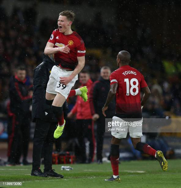 Scott McTominay of Manchester United celebrates scoring their first goal during the Premier League match between Wolverhampton Wanderers and...