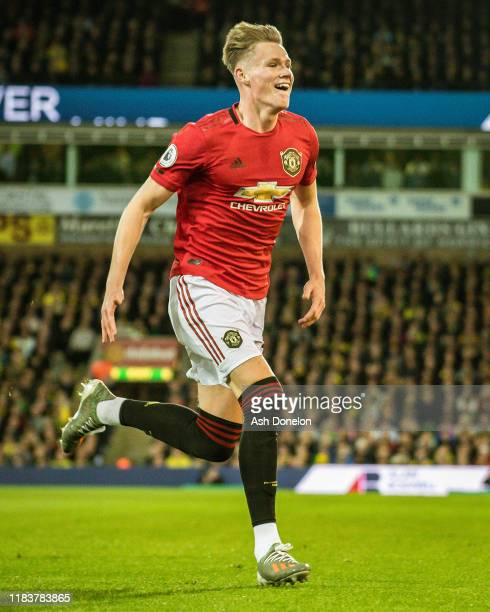 Scott McTominay of Manchester United celebrates scoring their first goal during the Premier League match between Norwich City and Manchester United...