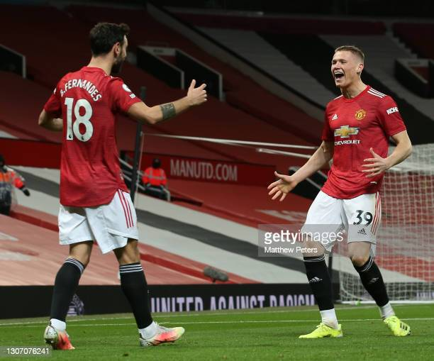 Scott McTominay of Manchester United celebrates scoring their first goal during the Premier League match between Manchester United and West Ham...