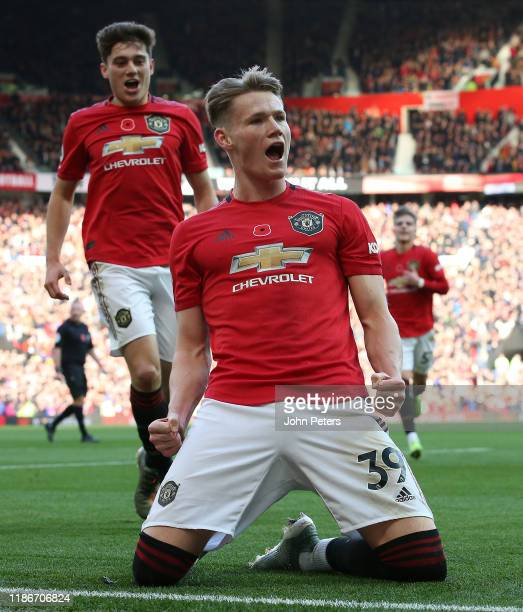 Scott McTominay of Manchester United celebrates scoring their second goal the Premier League match between Manchester United and Brighton Hove Albion...