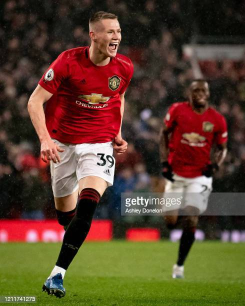 Scott McTominay of Manchester United celebrates scoring their second goal during the Premier League match between Manchester United and Manchester...