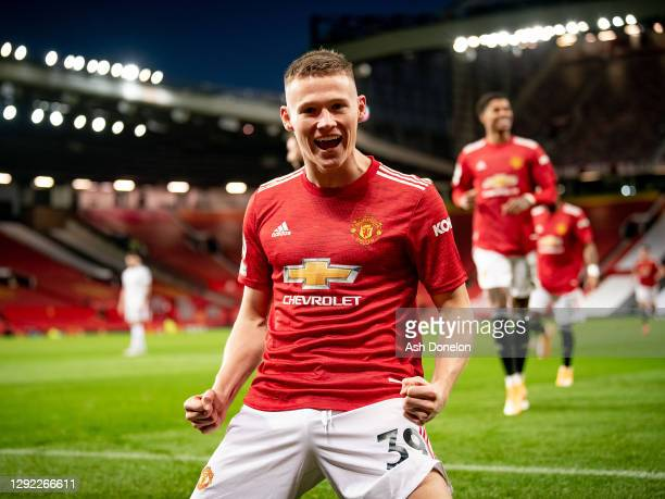 Scott McTominay of Manchester United celebrates scoring their second goal during the Premier League match between Manchester United and Leeds United...