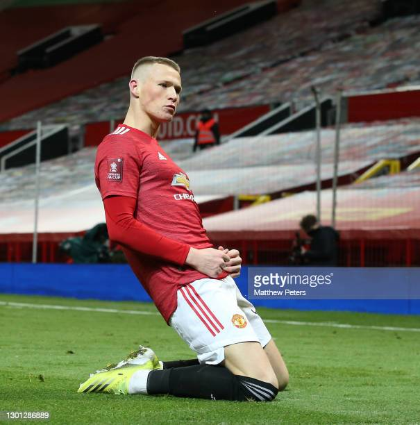 Scott McTominay of Manchester United celebrates scoring their second goal during The Emirates FA Cup Fifth Round match between Manchester United and...