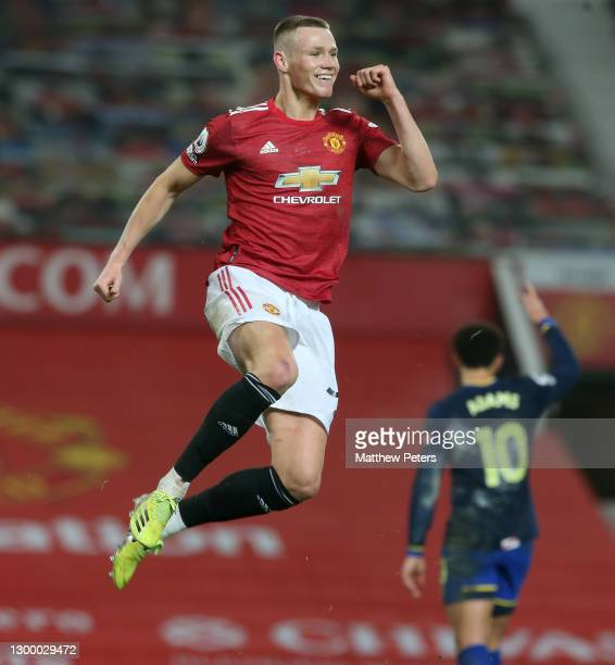 Scott McTominay of Manchester United celebrates scoring their sixth goal during the Premier League match between Manchester United and Southampton at...