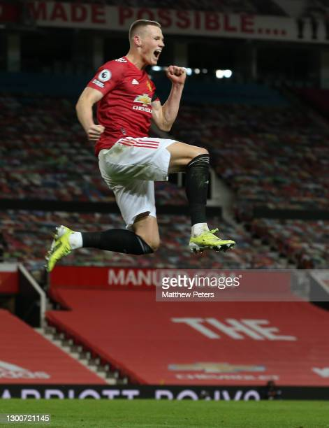 Scott McTominay of Manchester United celebrates scoring their third goal during the Premier League match between Manchester United and Everton at Old...