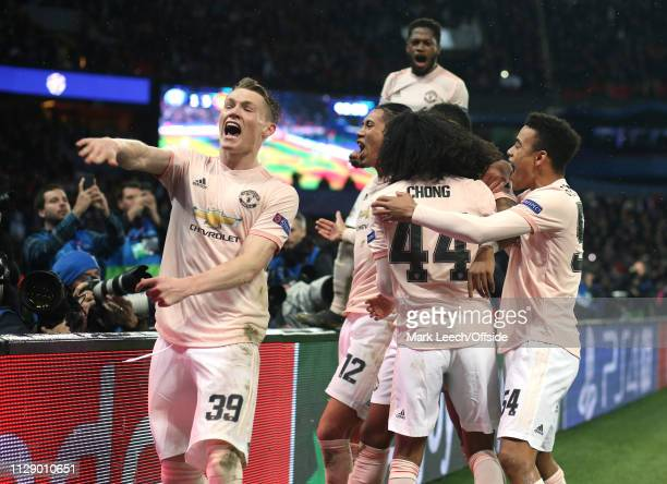 Scott McTominay of Manchester United celebrates victory after the UEFA Champions League Round of 16 Second Leg match between Paris Saint-Germain and...