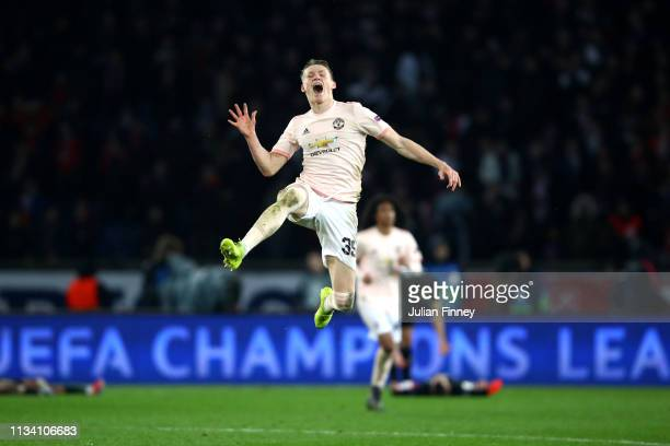 Scott McTominay of Manchester United celebrates victory during the UEFA Champions League Round of 16 Second Leg match between Paris Saint-Germain and...