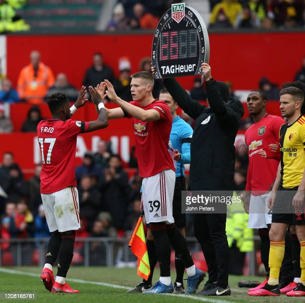 Scott McTominay of Manchester United comes on as a substitute for Fred during the Premier League match between Manchester United and Watford FC at...
