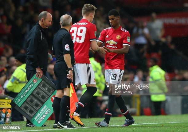 Scott McTominay of Manchester United comes on for Marcus Rashford of Manchester United during the Carabao Cup Third Round match between Manchester...