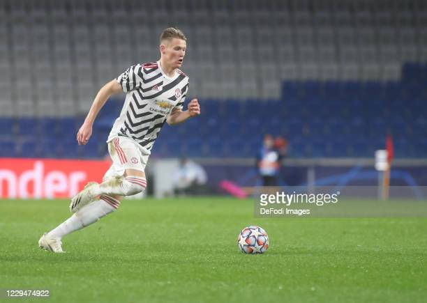 Scott McTominay of Manchester United controls the ball during the UEFA Champions League Group H stage match between Istanbul Basaksehir and...