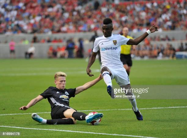 Scott Mctominay of Manchester United directs the ball away from Sunday Stephen of Real Salt Lake in the first half of the International friendly game...