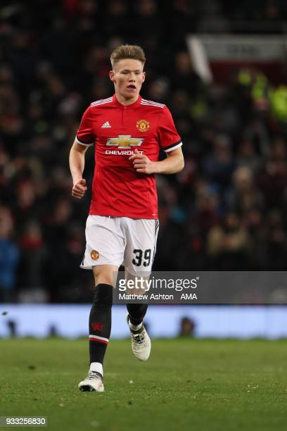 Scott McTominay of Manchester United during the FA Cup Quarter Final match between Manchester United and Brighton Hove Albion at Old Trafford on...