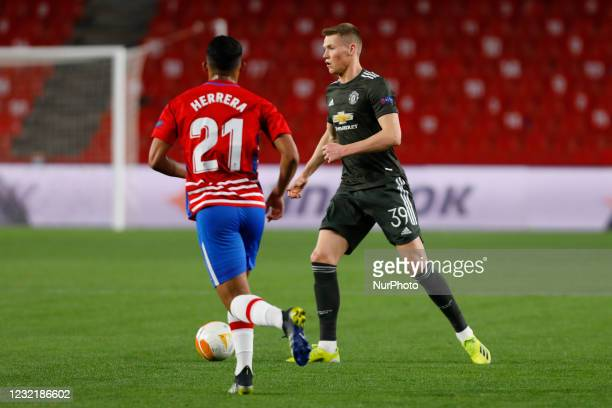 Scott Mctominay of Manchester United during the UEFA Europa League Quarter Final leg one match between Granada CF and Manchester United at Nuevo Los...