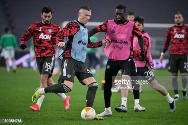 Scott McTominay of Manchester United FC on warm-up session during the UEFA Europa League Round of 32 match between Real Sociedad and Manchester...