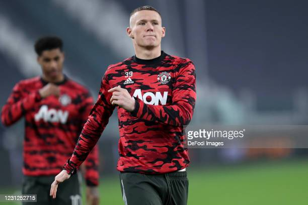 Scott McTominay of Manchester United Fc warm up prior to the UEFA Europa League Round of 32 match between Real Sociedad and Manchester United at...