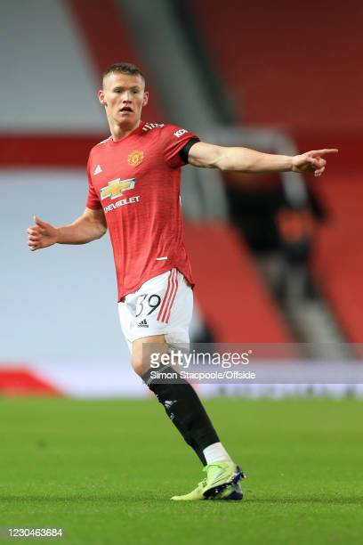 Scott McTominay of Manchester United gestures during the Carabao Cup Semi Final match between Manchester United and Manchester City at Old Trafford...