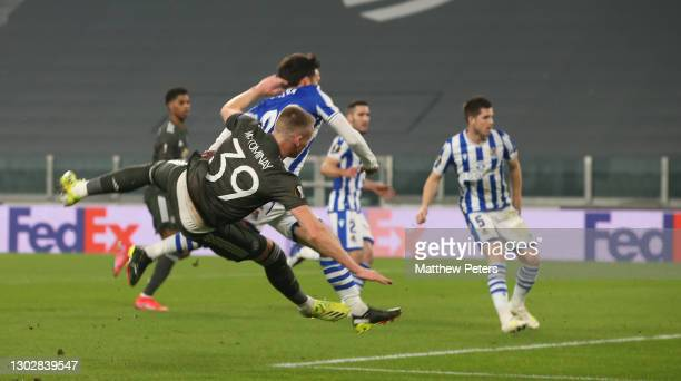 Scott McTominay of Manchester United has a shot on goal during the UEFA Europa League Round of 32 match between Real Sociedad and Manchester United...