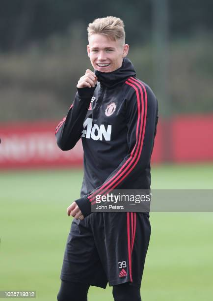 Scott McTominay of Manchester United in action during a first team training session at Aon Training Complex on September 1 2018 in Manchester England