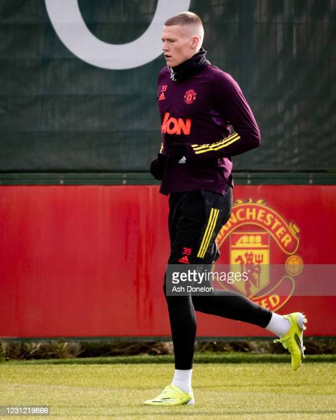 Scott McTominay of Manchester United in action during a first team training session at Aon Training Complex on February 17, 2021 in Manchester,...