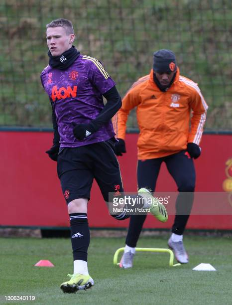 Scott McTominay of Manchester United in action during a first team training session at Aon Training Complex on March 10, 2021 in Manchester, England.