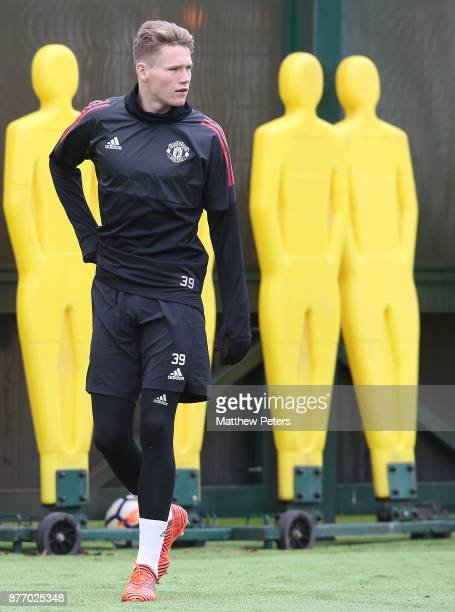 Scott McTominay of Manchester United in action during a first team training session at Aon Training Complex on November 21 2017 in Manchester England