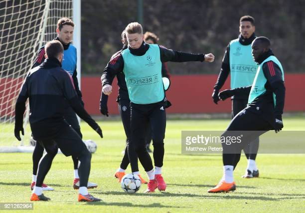 Scott McTominay of Manchester United in action during a first team training session at Aon Training Complex on February 20 2018 in Manchester England