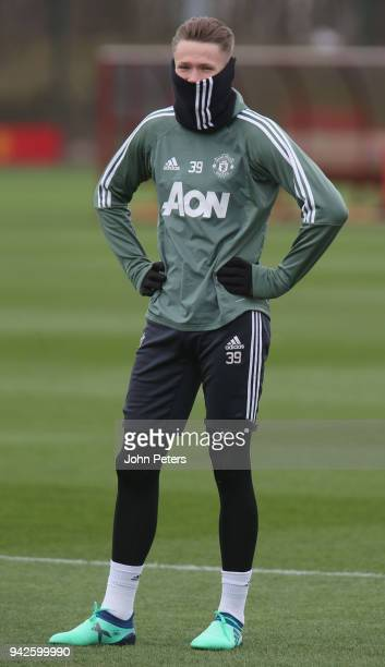 Scott McTominay of Manchester United in action during a first team training session at Aon Training Complex on April 6 2018 in Manchester England