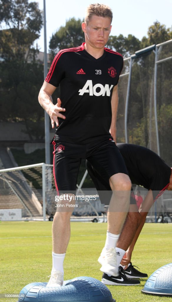Scott McTominay of Manchester United in action during a Manchester United pre-season training session at UCLA on July 16, 2018 in Los Angeles, California.