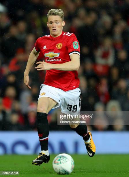 Scott McTominay of Manchester United in action during the Carabao Cup Third Round match between Manchester United and Burton Albion at Old Trafford...