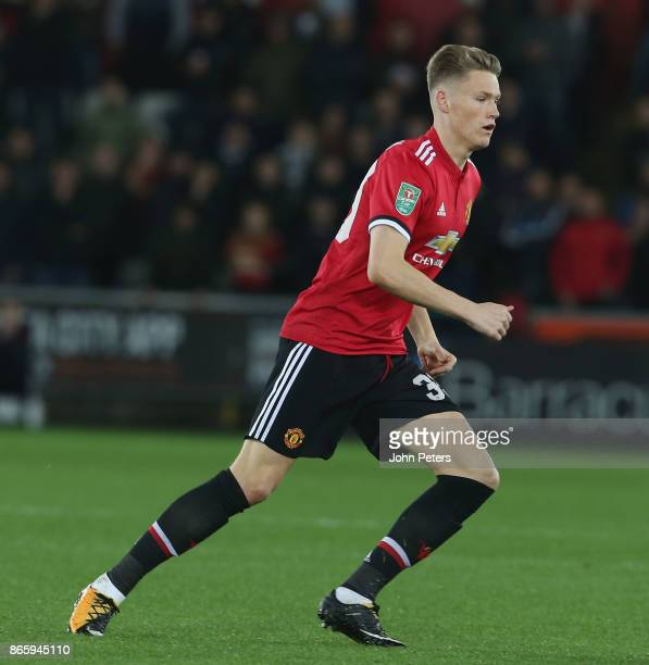 Scott McTominay of Manchester United in action during the Carabao Cup Fourth Round match between Swansea City and Manchester United at Liberty...