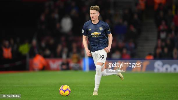 Scott McTominay of Manchester United in action during the Premier League match between Southampton FC and Manchester United at St Mary's Stadium on...