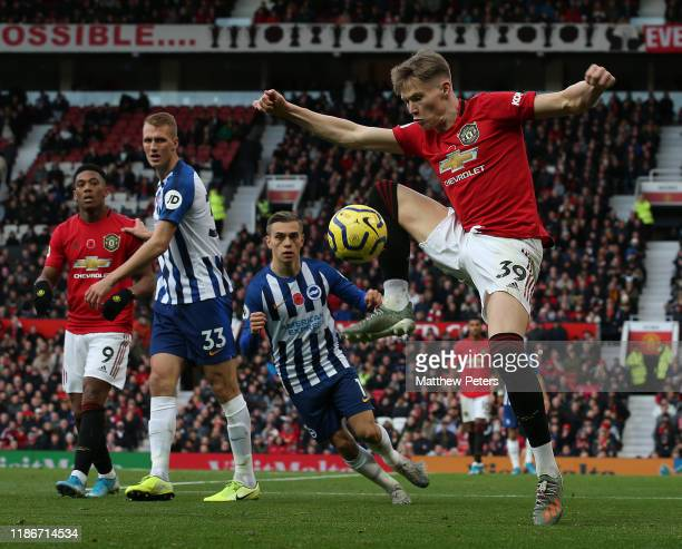 Scott McTominay of Manchester United in action during the Premier League match between Manchester United and Brighton Hove Albion at Old Trafford on...