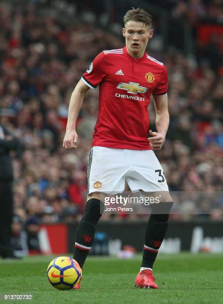 Scott McTominay of Manchester United in action during the Premier League match between Manchester United and Huddersfield Town at Old Trafford on...