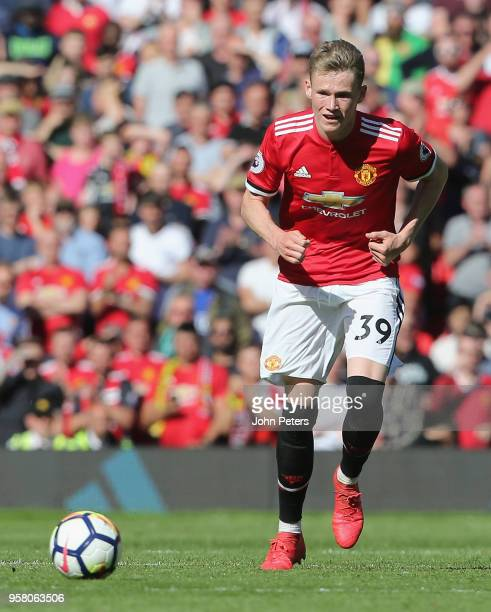 Scott McTominay of Manchester United in action during the Premier League match between Manchester United and Watford at Old Trafford on May 13 2018...