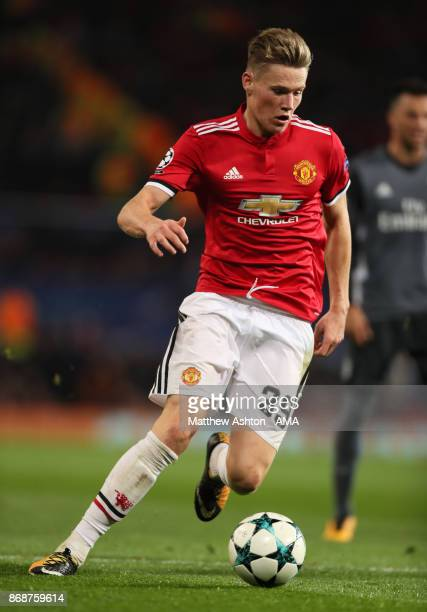 Scott McTominay of Manchester United in action during the UEFA Champions League group A match between Manchester United and SL Benfica at Old...
