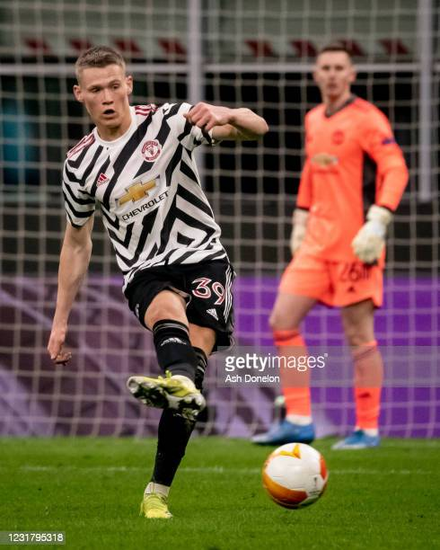 Scott McTominay of Manchester United in action during the UEFA Europa League Round of 16 Second Leg match between AC Milan and Manchester United at...