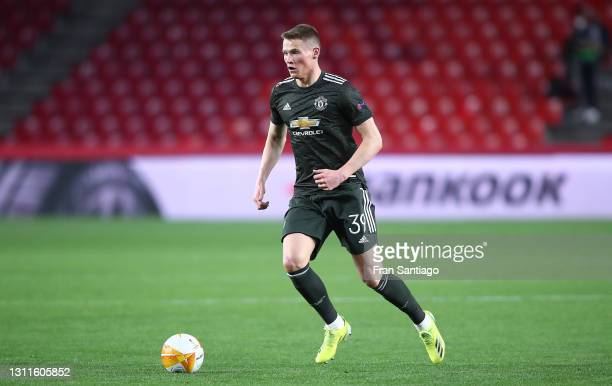 Scott McTominay of Manchester United in action during the UEFA Europa League Quarter Final First Leg match between Granada CF and Manchester United...