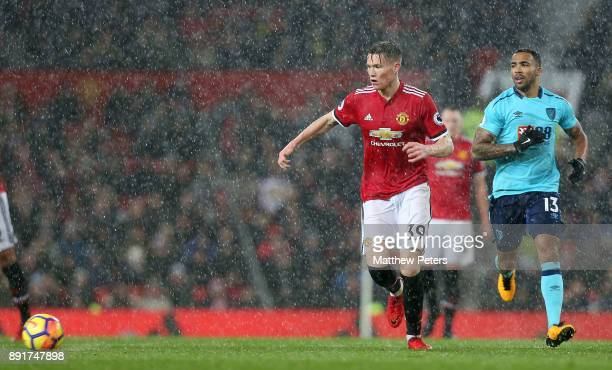 Scott McTominay of Manchester United in action with Callum Wilson of AFC Bournemouth during the Premier League match between Manchester United and...