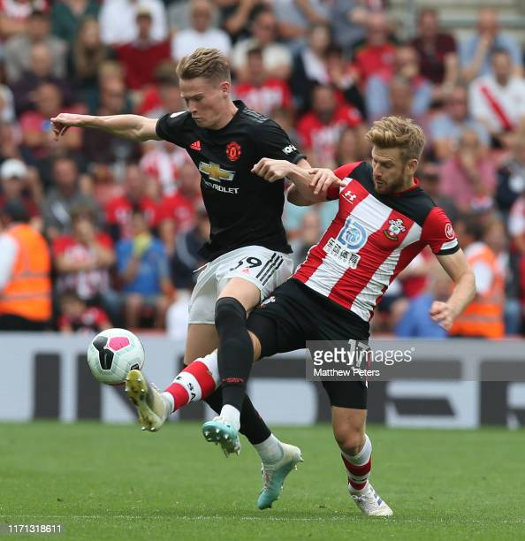 Scott McTominay of Manchester United in action with Stuart Armstrong of Southampton during the Premier League match between Southampton FC and...