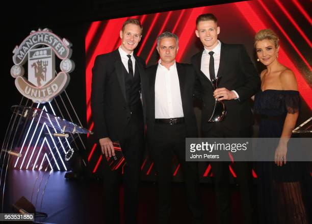 Scott McTominay of Manchester United is presented with the Manager's Player of the Season award by Manager Jose Mourinho at the club's annual Player...